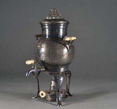 Fontaine à thé avec son réchaud en métal...