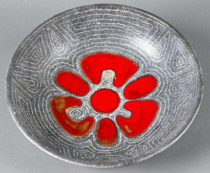 VALLAURIS  A round enamelled ceramic dish...