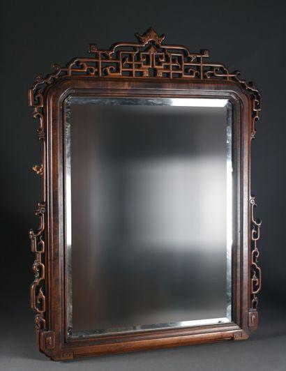 CHINE - XIXe siècle  Beau miroir en bois...