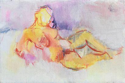Émile LAFAMÉ (Émile BOGAERT, dit) (1934-2017)  Petit nu orange  Huile sur toile...