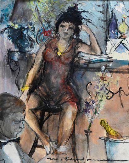 Marcel CHARBONNEL (1901-1981)  La rouille  Huile sur papier, collée sur isorel,...
