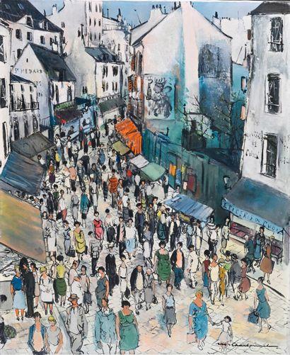 Marcel CHARBONNEL (1901-1981)  La rue Mouffetard,...