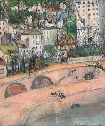 Marcel CHARBONNEL (1901-1981)  Vue de Lyon...