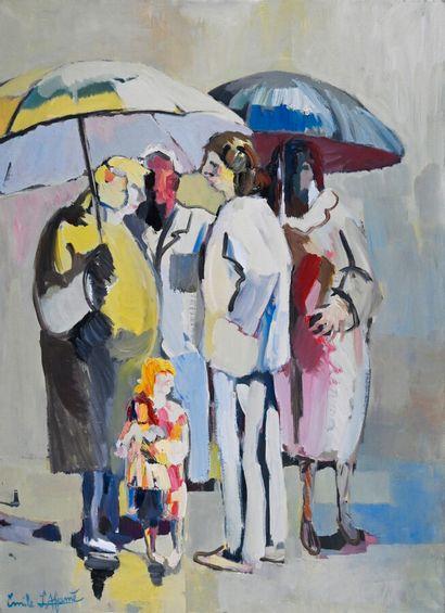 Émile LAFAMÉ (Émile BOGAERT) (1934-2017)  The Umbrellas, 1984  Oil on canvas, signed...