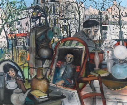 Marcel CHARBONNEL (1901-1981)  Le brocanteur  Huile sur toile, signée en bas à droite...