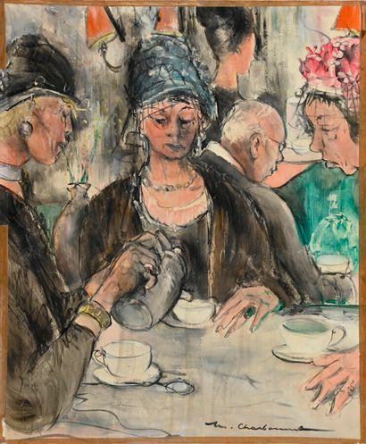 Marcel CHARBONNEL (1901-1981)  Le salon de...