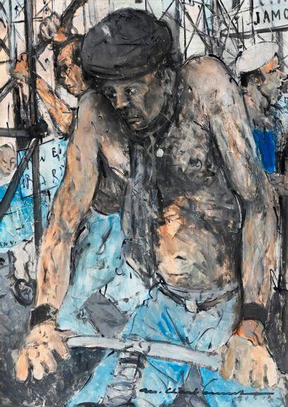 Marcel CHARBONNEL (1901-1981)  Le chantier...
