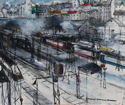 Marcel CHARBONNEL (1901-1981)  Gare enneigée...