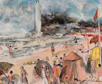 Marcel CHARBONNEL (1901-1981)  La plage  Huile...