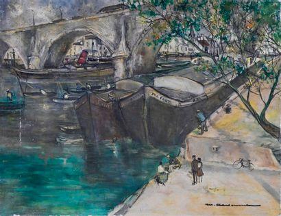 Marcel CHARBONNEL (1901-1981)  Les pêcheurs...