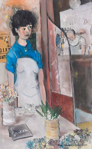 Marcel CHARBONNEL (1901-1981)  La vendeuse...