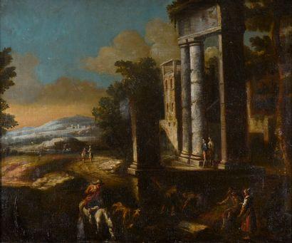 Ecole ITALIENNE vers 1680  Halte près d'un...