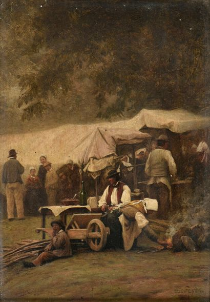 Eugène FEYEN (1815-1908)  Villageois  Huile...
