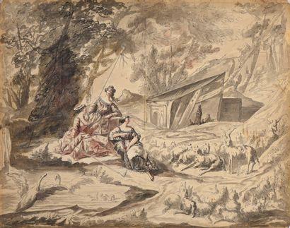 Ecole FRANCAISE vers 1800  Bergères  Plume...