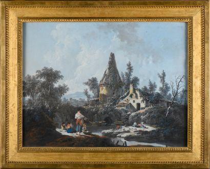Jean PILLEMENT (1728-1808)  Paysage au colombier...