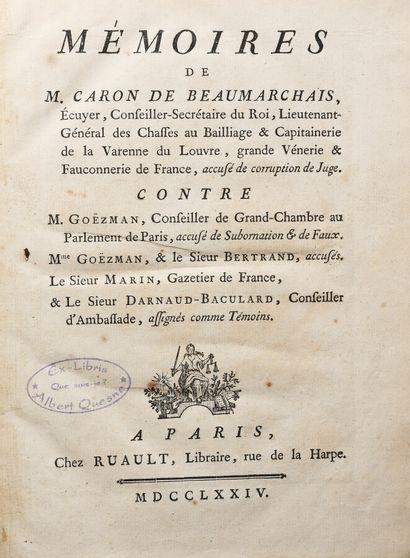 BEAUMARCHAIS (P. A. Caron de). Mémoires de M. Caron de Beaumarchais accusé de corruption...