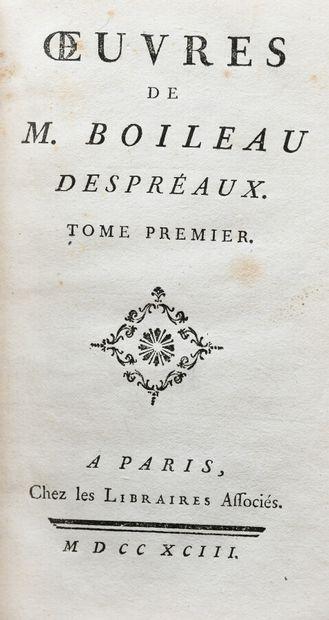 BOILEAU - DESPRÉAUX (N.). OEUVRES.  Paris, chez les libraires associés, 1793. 3...