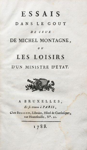 [ARGENSON (Marquis d')]. ESSAIS DANS LE GOUT DE CEUX DE MICHEL MONTAGNE, OU LES...