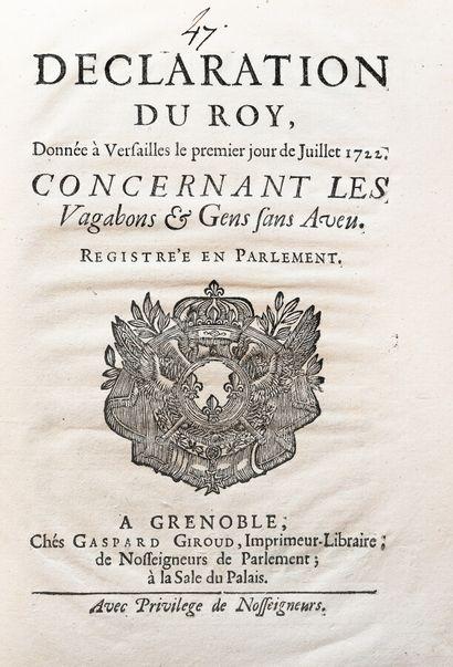 DECLARATION DU ROY CONCERNANT LES VAGABONS...