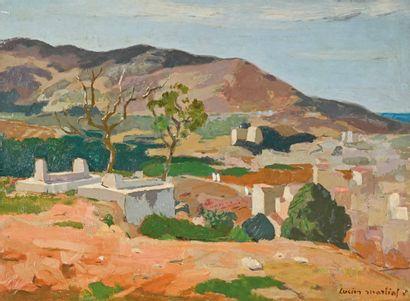 Lucien MARTIAL (1892-1987) Les sépultures à Alger  Huile sur isorel signée en bas...