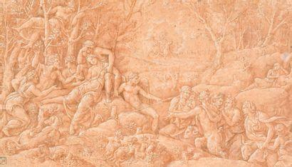 Atelier de Giulio ROMANO (1499-1546) Céphale et Procris  Plume et encre brune, lavis...
