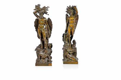 Importante paire de groupes en bronze