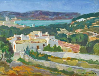 Lucien MARTIAL (1892-1987) Portichol (Espagne)  Huile sur isorel signée en bas à...