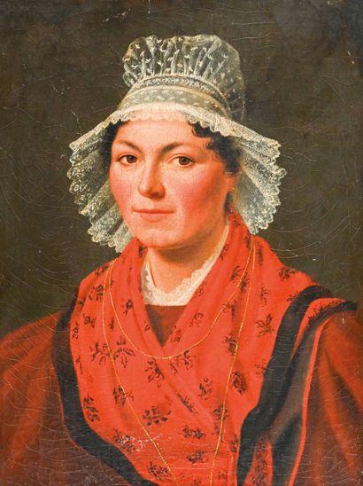 École Française du XIXe siècle Portrait de femme au bonnet de dentelle  Huile sur...