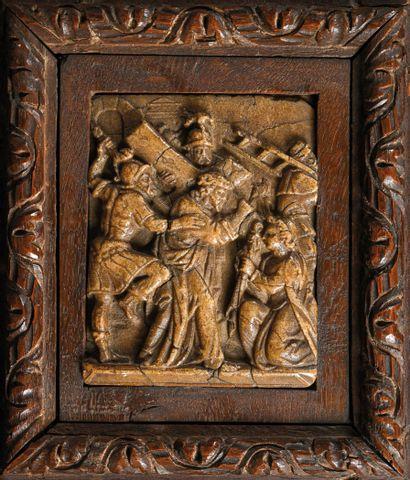 """Albâtre de Malines représentant """"le Portement de Croix"""". Le Christ tombe sous le..."""