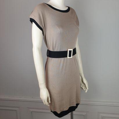 FENDI  Robe en maille coton beige/ noir,...