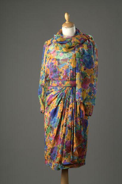 GALANOS  Robe en mousseline de soie imprimée...