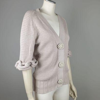 FENDI  Cardigan en coton crochet beige rosé,...