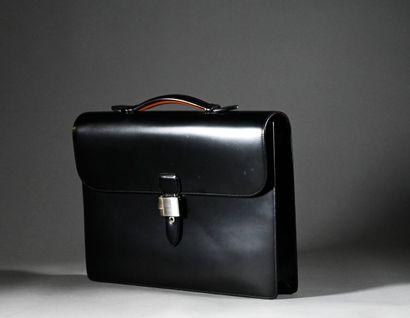 DUNHILL  Cartable d'homme en cuir noir  Dimensions:...