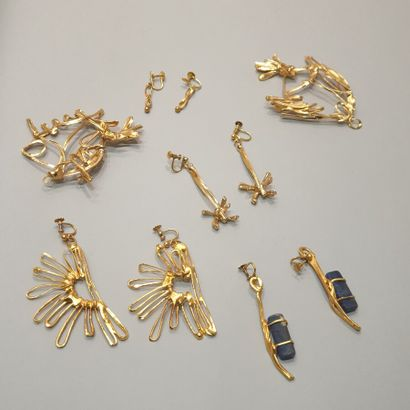 ANONYME  Lot comprenant sept bijoux créateur...