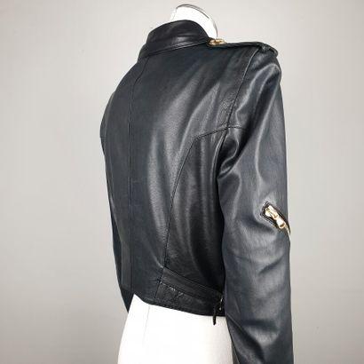 EMILIO PUCCI  Perfecto en cuir noir à fermeture et poches zippées à finitions pampilles...