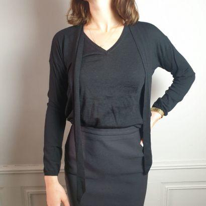GERARD DAREL  Pull en coton et laine noir,...