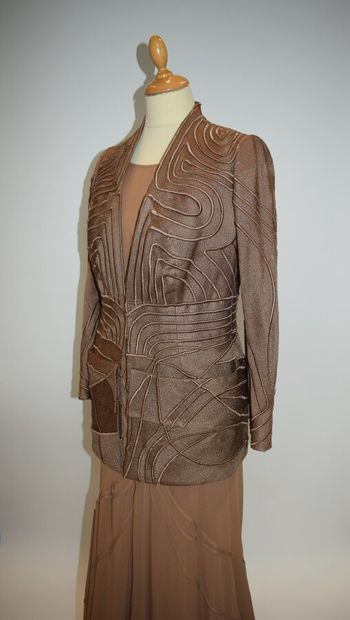 GIVENCHY Haute Couture n°86968, 86969, René MANCINI  Ensemble en mousseline nude...