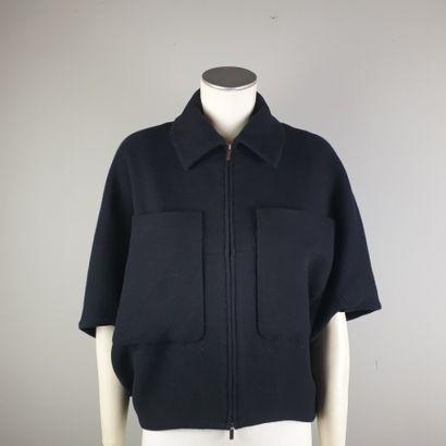 THE ROW  Blouson en coton et laine noir,...