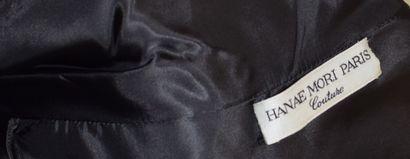 HANAE MORI Couture HC 837-442-91  Robe au genou en jersey noire, décolleté en V,...