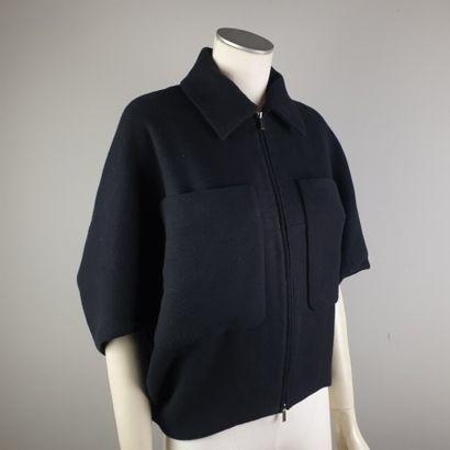 THE ROW  Blouson en coton et laine noir, petit col, fermeture à glissière à double...