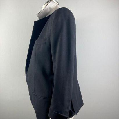 HAIDER ACKERMANN  Veste du soir en sergé coton et soie noir, col châle cranté satiné,...