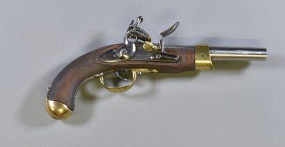 FRANCE  Pistolet modèle an IX  Monture bois...