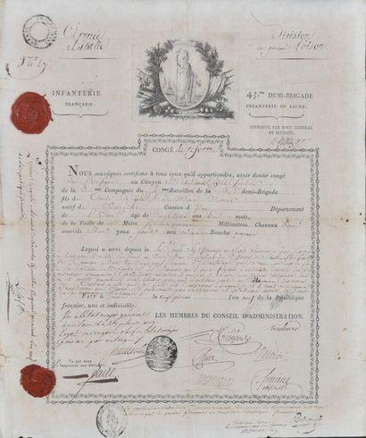 FRANCE  Congé de réforme Révolution  Dans cadre moderne, encadré de symbole Napoléonien...