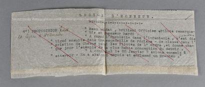 FRANCE  Citation d'un As de 14-18 sur pelure  Pour le Lieutenant Marcel HUGUES pour...