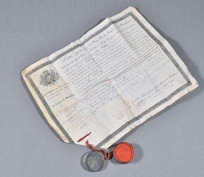 FRANCE  Diplôme de Chevalier de l'Ordre de St Louis Restauration  Attribué à un...