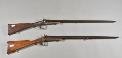 FRANCE  Lot de deux fusils de chasse à piston...