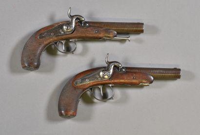 FRANCE  Paire de pistolets à pistons  Monture...