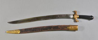 FRANCE  Dague de chasse  Poignée ébène striée, quillon en bronze avec têtes de chiens...
