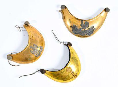 FRANCE  Set of 3 collar pins XIX th century  A Second Empire marine, superb gilding,...