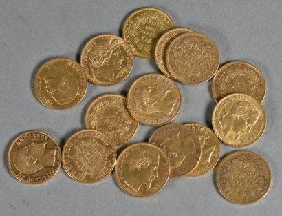 FRANCE  Lot de quinze pièces de 20 francs...